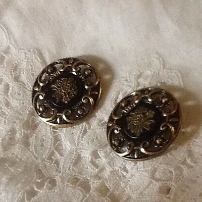 Antique Gold And Black Floral Buttons C. 1870