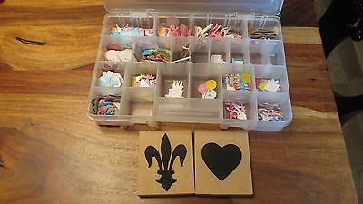 Craft box of card making toppers plus 2x Wooden Stamps.