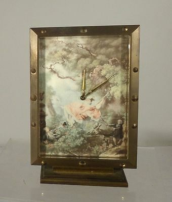 Antique French Painting Lithograph Luxor Bronze Swiss Alarm Clock
