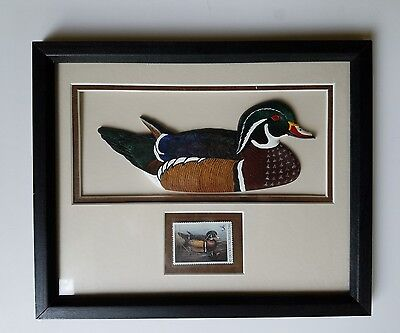 2001 Ducks Unlimited Framed Carved Wood Duck & Annual Duck Stamp