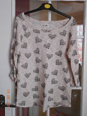 New Look Beige Heart Print Jumper Size 14