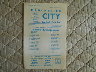 1969/70 Man City Res V Coventry Res Central League Single Sheet Prog With Token