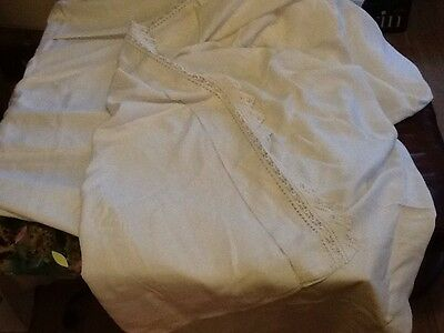 Antique Linen Bed Sheet With A Lace Boarder Embroidery And Threading
