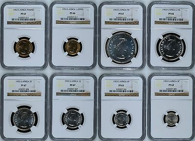 1953 NGC PF 65-67 Proof South Africa Republik Type 8 Coin Set - Gold - KM# 47-54