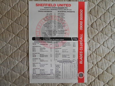 1999/00 Sheffield Utd Res V Blackpool Res Pontins League Single Sheet Programme