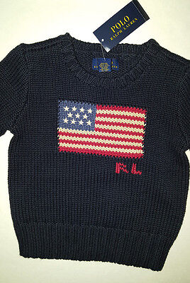 New! Polo Ralph Lauren Knit Sweater American Flag 100% Cotton Size 2/2T Nwt $75