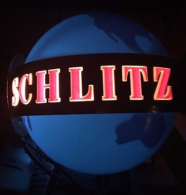 Unique Collectible 1950's Schlitz Globe Man Cave Beer Light Sign Wall Mount