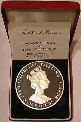 1985 Proof Falkland Islands Silver 25 Pounds 100 Years of Self Sufficiency KM#20
