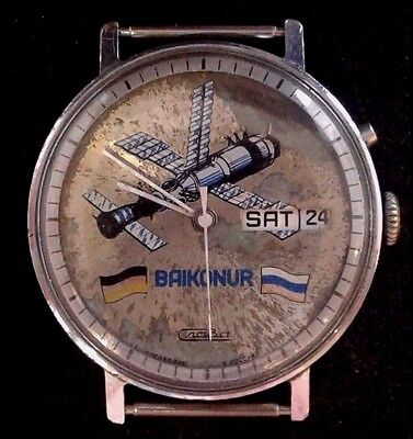 "Rare Russian watch slava "" baikonur""  space ussr friendship Germany serviced"