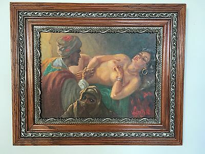 Stunning Signed Oil Painting Nude & Covered Female 3 Figures Beautiful Color