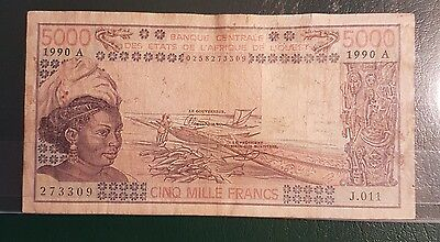 West Africa French 5000 Francs 1990A Cinq Mille
