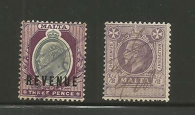 "MALTA REVENUE1/2d VIOLET""UNAPPROPRIATED""+3d GREY AND PURPLE KING EDW CANCELLED"