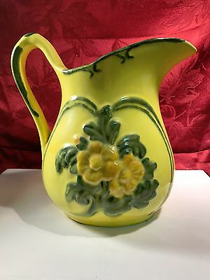 "Vintage Hand Made Ceramic Water Jug Signed ""Alma '74"" Great Colors Yellow, Green"