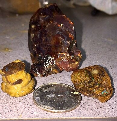 Three Nice Color Pieces Of Koroit Boulder Opal Rough