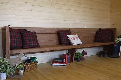 Antique solid sturdy long pine church pew, settle, bench, hall seat