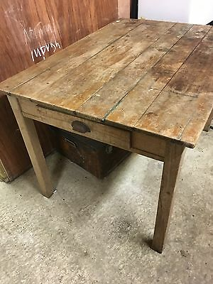 Vintage / Retro / Industrial Pine Table - with drawer + removable legs