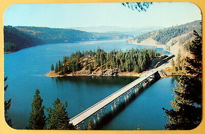 Blue Creek Bay Bridge Lake Coeur d' Alene Idaho unmarked vintage c 1960  e
