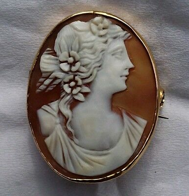 Cameo Pin Brooch set in 9ct gold ..Victorian ....
