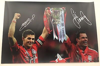 Steven Gerrard & Jamie Carragher Signed Liverpool Fc Cup Final Photo 18x12 Coa