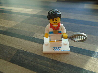 Lego Team Gb Olympic Minifigure - Tennis Player Very Good Condition