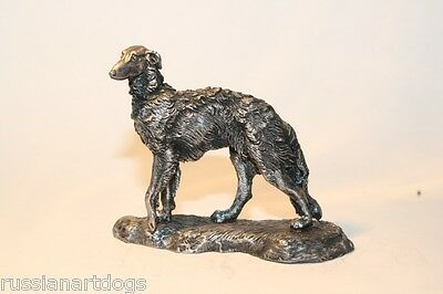 Borzoi/Russian Wolfhound statue figurine miniature pewter (silver color)
