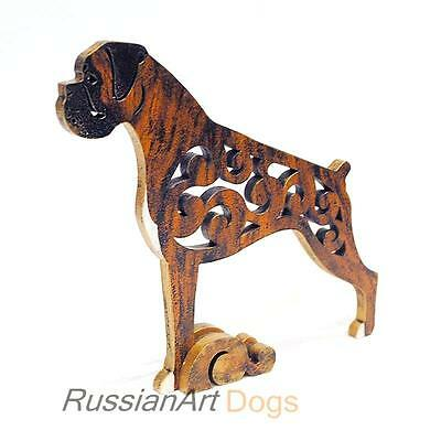 Brindle Boxer dog figurine, statue made of wood