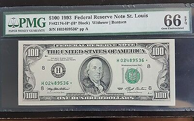 Key $100 1993 PMG 66 GEM GUNC Star 2174-G* 1993 Replacement Low Mintage !!!