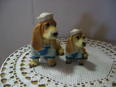 Mama & Baby Basset Hound ? in Sailor Suit - Resin / Stone