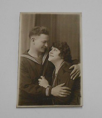 Photo Postcard Us Navy Sailor With New Wife Cardiff Studio Picture Wwi Wwii Vgc