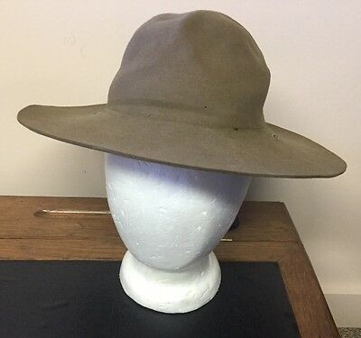 Vintage Boy Scouts BSA Scout Master Troop Leader Wool Felt Hat Khaki