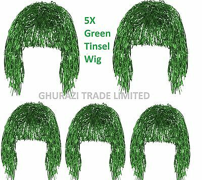 Set Of 5 Tinsel Wig Green Shiny Metallic Foil  70s 80s Fancy Dress Wig Accessory