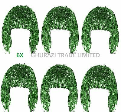Set Of 6 Tinsel Wig Green Shiny Metallic Foil  70's 80's Fancy Dress Accessory
