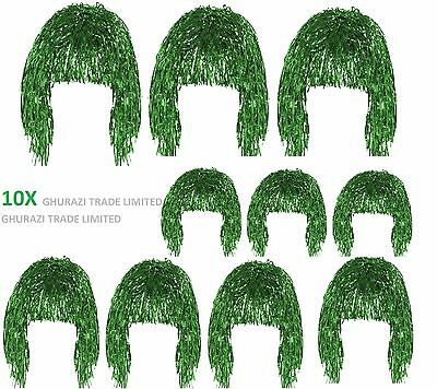 Set of 10x Tinsel Wig Green Shiny Metallic Foil 70's 80's Fancy Dress Accessory