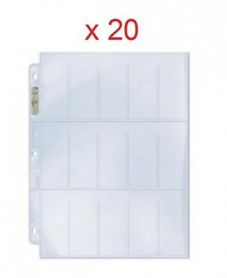 "20 feuilles Ultra Pro Platinum 15 cases 1.5x3.25"" pour cartes 38 x 82 mm 814229"