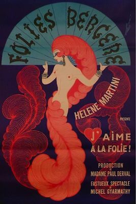 "Poster by Ertes ""Folies Bergere"" on Linen"