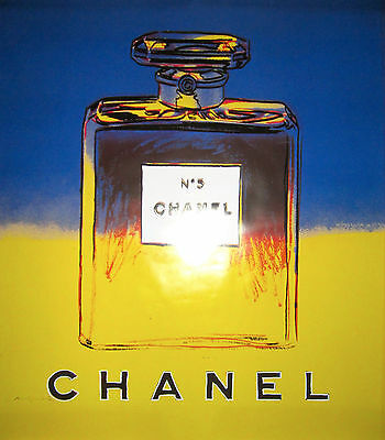 Original Andy Warhol Publicity Poster for Chanel N5, blue/yellow, 1997