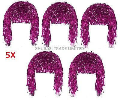 Set Of 5 Tinsel Wig Pink Shiny Metallic Foil  70s 80s Fancy Dress Wig Accessory