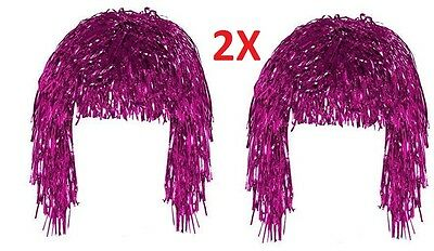 2 Tinsel Wig Pink  Shiny Metallic Foil  70s 80s Fancy Dress Wig Accessory