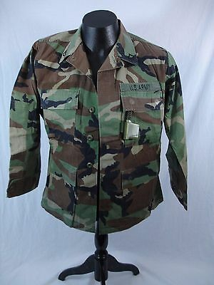 Genuine Army Issue Woodland Camoflage Shirt Jacket Size Small X-Short