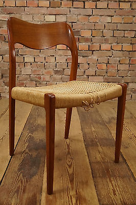 60er Mid Century Teak Chair Danish Modern Design Møller Era Denmark 60s Braid