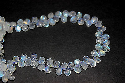 Rainbow moon stone smooth pear beads size is 5.5 x 5mm length is 8 inch,.