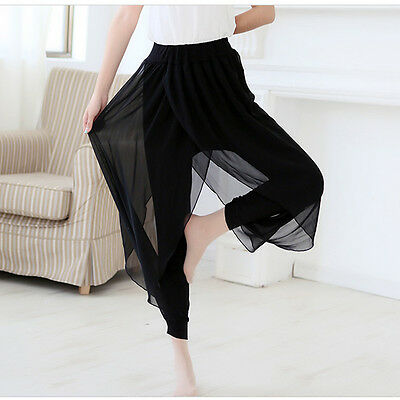 Women Summer Bloomers Black Trousers Casual Harem Stretch Wide Leg Pants S-6XL