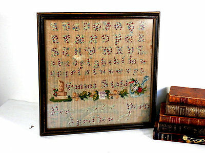 c1871 Needlework Sampler Emma Stahl New York Antique Textiles