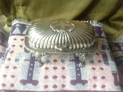 Vintage Silver Roll-Top Butter Dish w/ Lion faces & Legs.