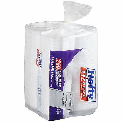 Hefty Foam Hinged 1 Compartment Togo Boxes 250 ct New Item