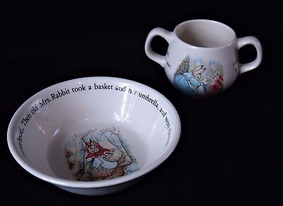 Peter Rabbit 2 piece Nursery Set by WEDGEWOOD Bowl and Cup PREOWNED
