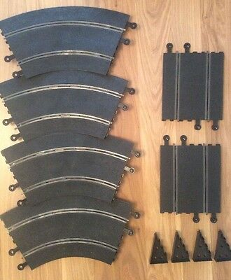 Scalextric Track Bend x4, Small Straight, x4 Props Vintage