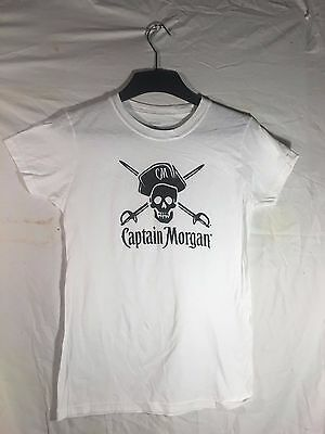 New* Captain Morgan shirt, Ladies Large  pirate, skull, Fitted Tee, soft, White