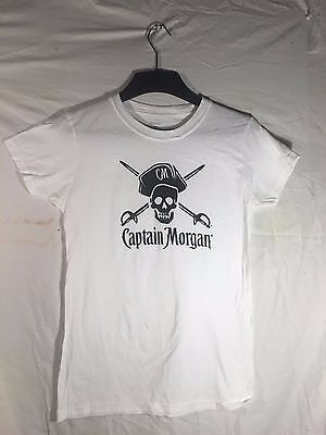 New*Captain Morgan Rum shirt, Ladies Large  pirate, skull, Fitted , soft, White