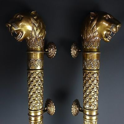 "Rare Pair of Large 40"" Architectural Brass Lion Head Door Frame Ornaments Pulls"